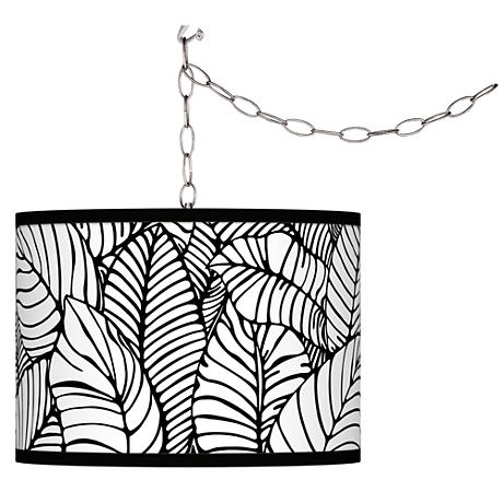 Swag Style Tropical Leaves Giclee Shade Plug-In Chandelier