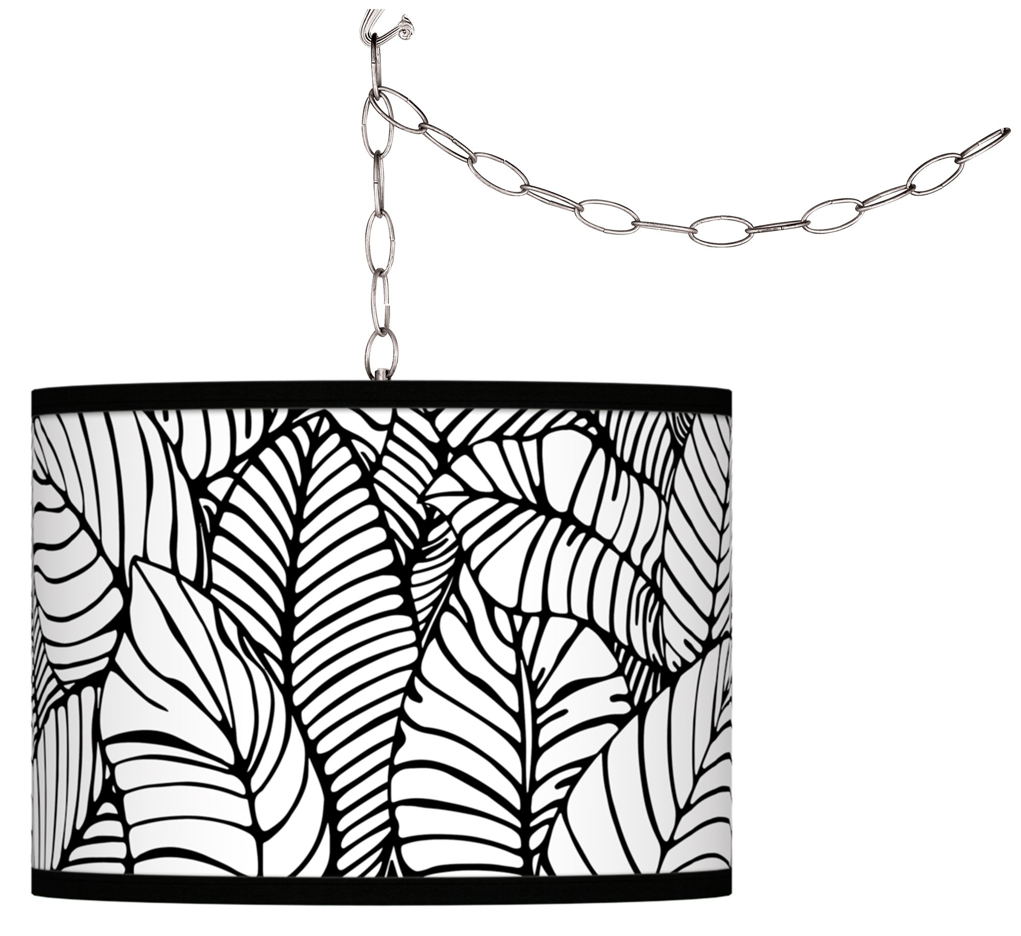 swag style tropical leaves giclee shade plugin chandelier