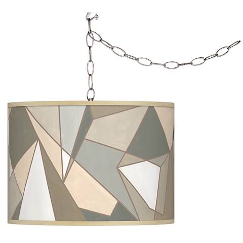 Swag Style Modern Mosaic I Giclee Shade Plug-In Chandelier