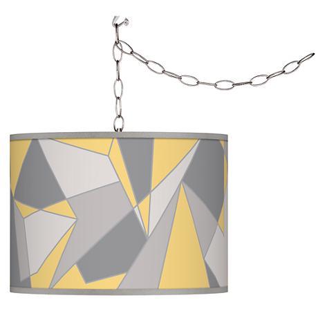 Swag Style Modern Mosaic II Giclee Shade Plug-In Chandelier