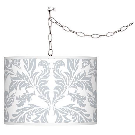 Swag Style Silver Baroque Shade Plug-In Chandelier