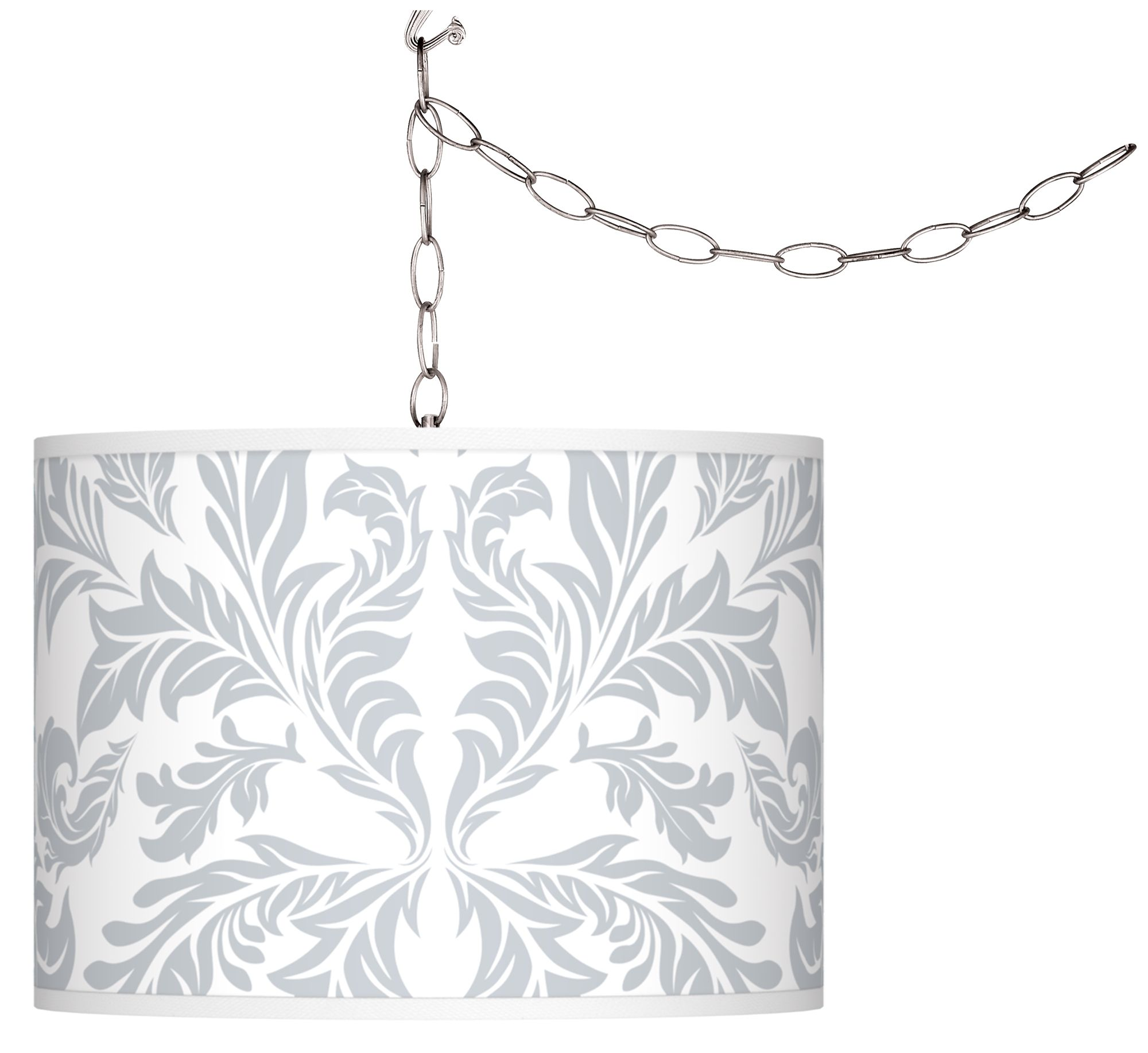 swag style silver baroque shade plugin chandelier