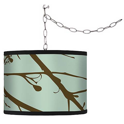 Stacy Garcia Green Calligraphy Tree Plug-In Swag Chandelier