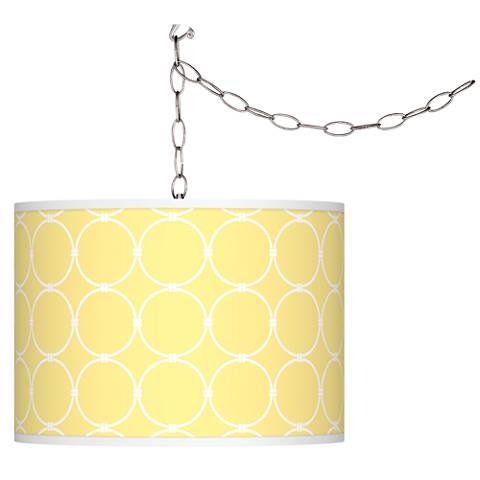 Lemon Interlace Giclee Plug-In Swag Chandelier