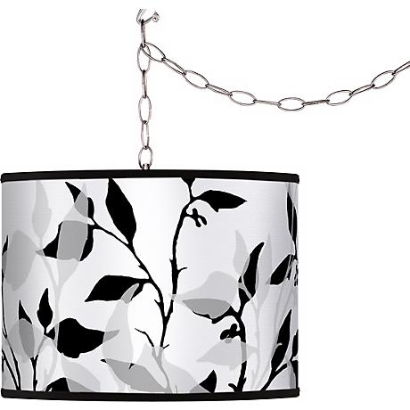 Three-Tone Leaves Giclee Plug-In Swag Chandelier