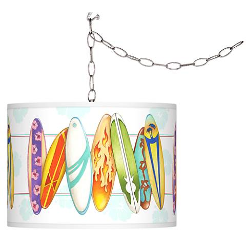 Surfboard Time Giclee Swag Style Plug-In Chandelier