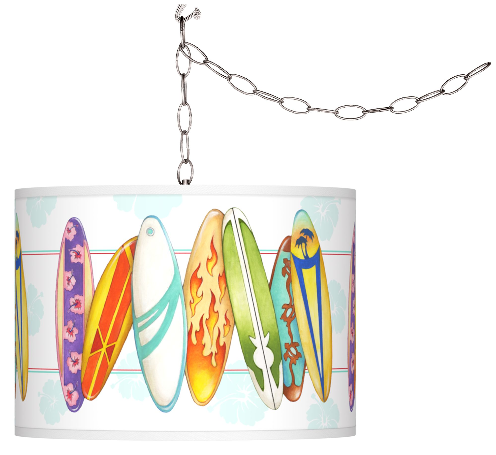 surfboard time giclee swag style plugin chandelier