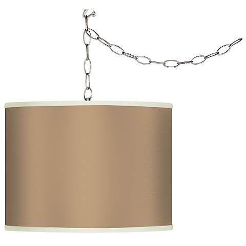 Mesa Tan Giclee Swag Style Plug-In Chandelier