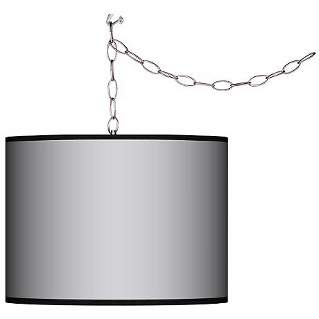 """All Silver Giclee Swag Style 13 1/2"""" Wide Plug-In Chandelier"""