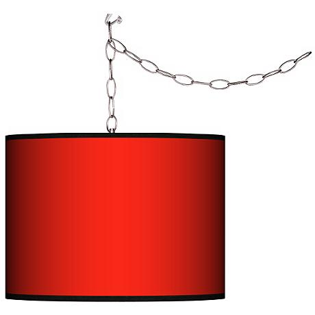 """All Red Giclee Swag Style 13 1/2"""" Wide Plug-In Chandelier"""