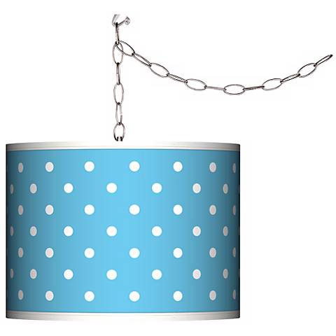 Swag Style Mini Dots Aqua Shade Plug-In Chandelier