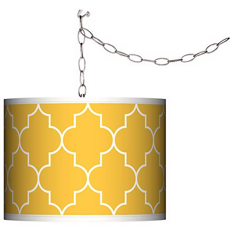 Swag Style Tangier Yellow Shade Plug-In Chandelier