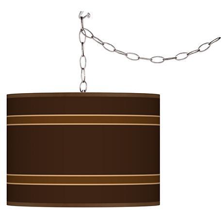 Swag Style Saratoga Stripe Shade Plug-In Chandelier