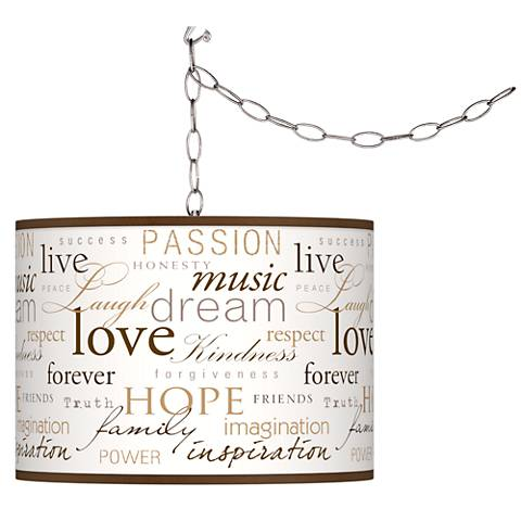 Swag Style Positivity Shade Plug-In Chandelier