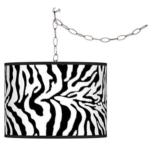 Swag Style Safari Zebra Giclee Shade Plug-In Chandelier