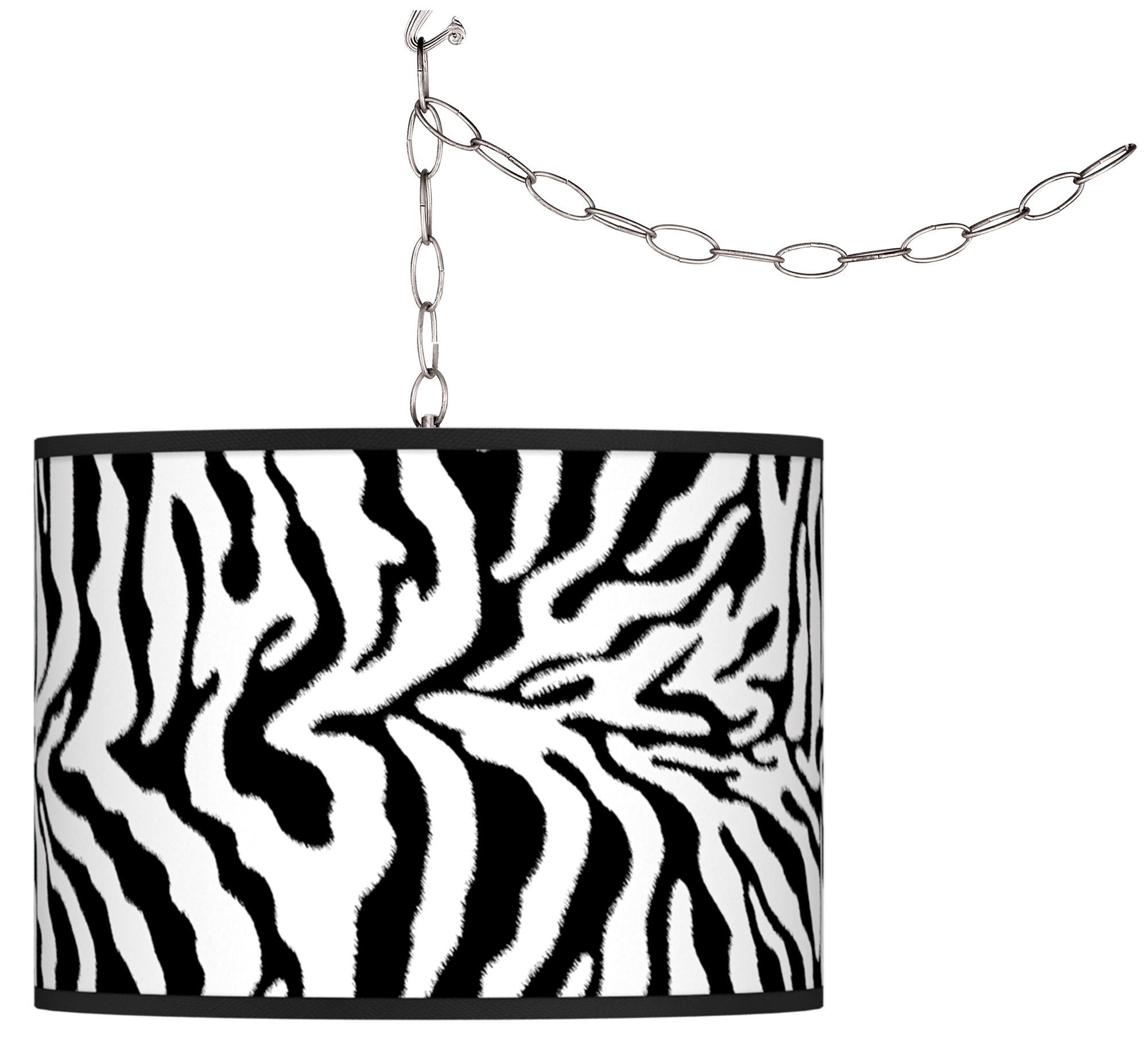 swag style safari zebra giclee shade plugin chandelier