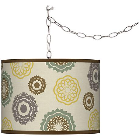 Ornaments Linen Plug-In Swag Chandelier