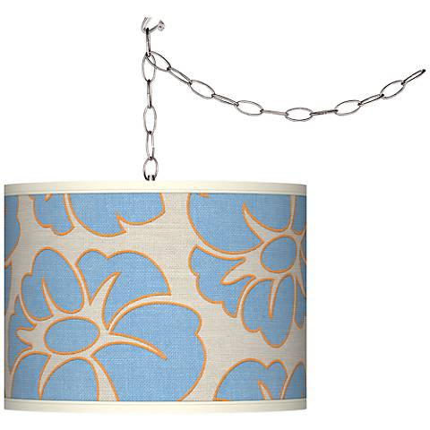 Floral Blue Silhouette Plug-In Swag Chandelier