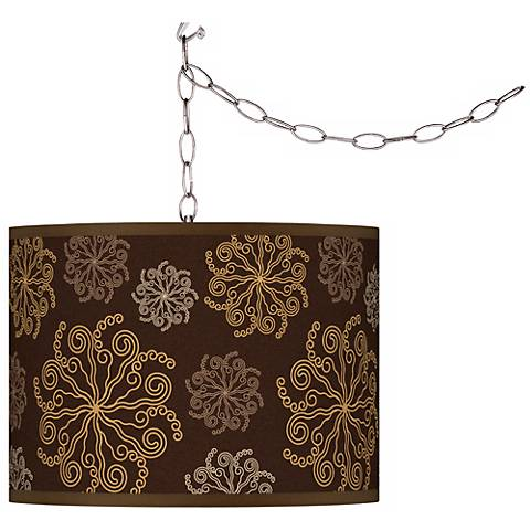 Chocolate Blossom Giclee Plug-In Swag Chandelier