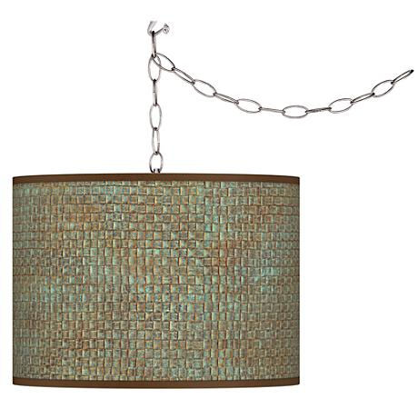 Swag Style Interweave Patina Print Shade Plug-In Chandelier