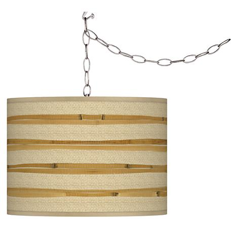 """Bamboo Wrap 13 1/2"""" Wide Plug-In Swag Pendant"""