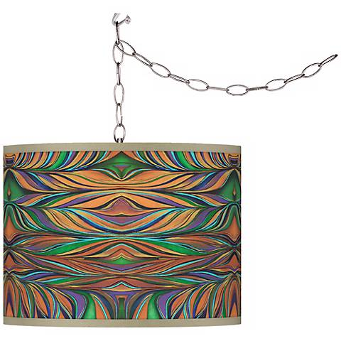 Swag Style Exotic Peacock Giclee Shade Plug-In Chandelier