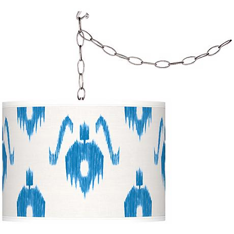 Swag Style Blue Ikat Giclee Shade Plug-In Chandelier