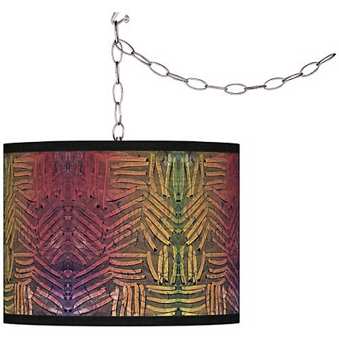 Swag Style Autumn Fractals Shade Plug-In Chandelier