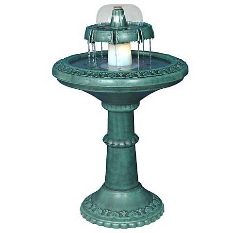 "Decorative Lighted Birdbath 35"" High Fountain"