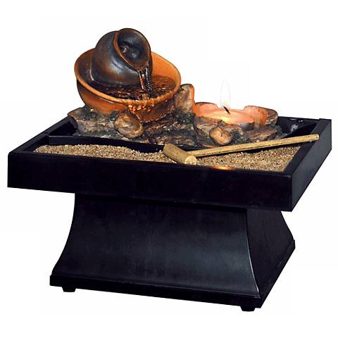 """Urn Pour Zen Battery Operated 3 3/4"""" High Tabletop Fountain"""