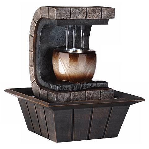 """Hand Painted 9 1/2"""" High Small Table Fountain with LED Light"""