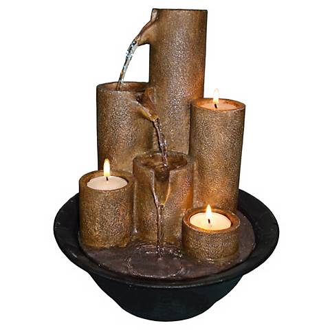 """Three Candles Tabletop Candle 11"""" High Fountain"""