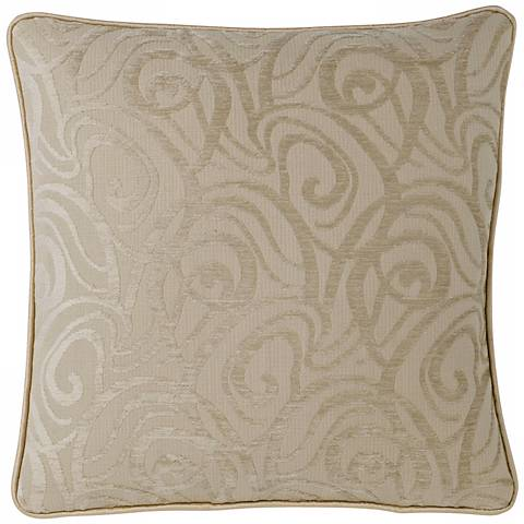 "Cream Babylon Swirl 18"" Square Pillow"
