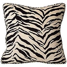 "Black and White Zebra 18"" Square Pillow"