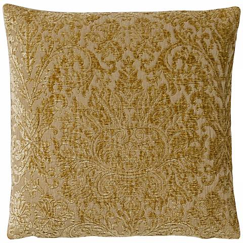 "Golden Vintage Damask 17"" Square Pillow"
