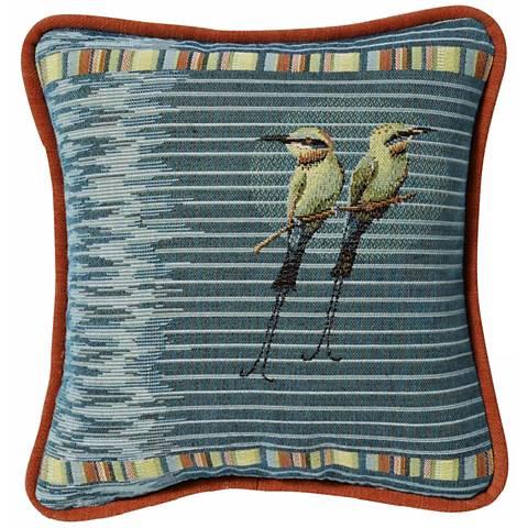 Pampered Birds Teal Pillow