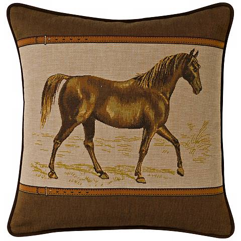 "Brown Equestrian 19"" Square Pillow"