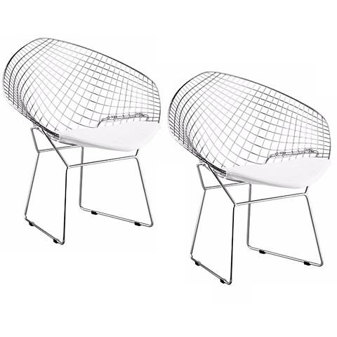 Set of  Two  Net Chair Steel and White Leatherette