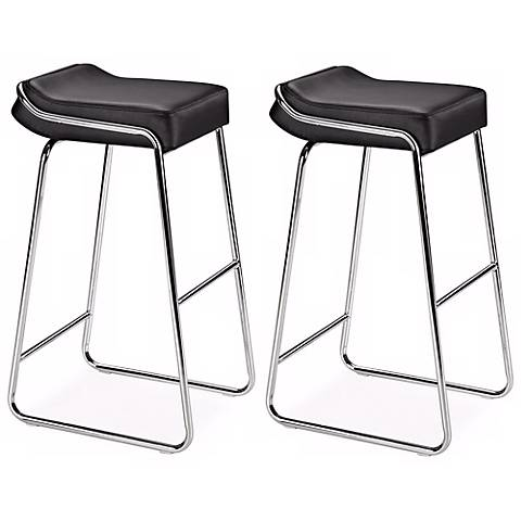 """Zuo Set of Two Black Wedge 32"""" High Barstools"""