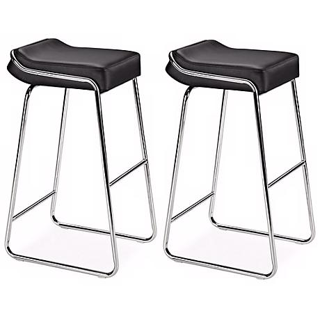 "Zuo Set of Two Black Wedge 32"" High Barstools"