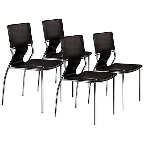 Zuo Set of Four Trafico Black Side Chairs