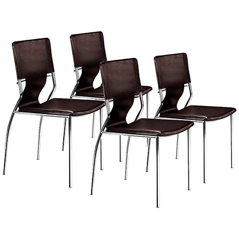 Zuo Trafico Espresso Set of Four Side Chairs
