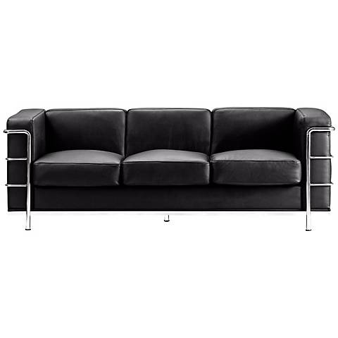 """Zuo Fortress Collection 76"""" Wide Black Leather Sofa"""