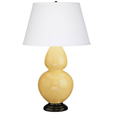 "Robert Abbey 31"" Yellow Ceramic and Bronze Table Lamp"