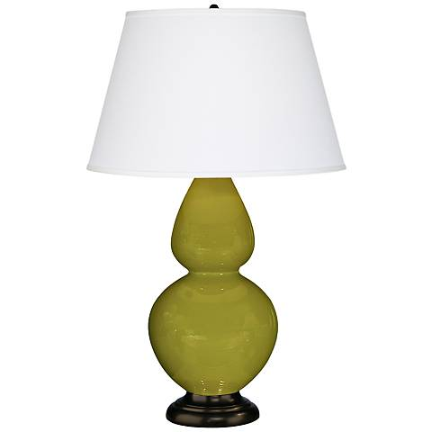 """Robert Abbey 31"""" Apple Green Ceramic and Bronze Table Lamp"""