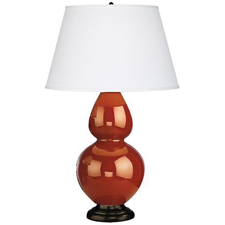 """Robert Abbey 31"""" Cinnamon Brown Ceramic and Bronze Lamp"""