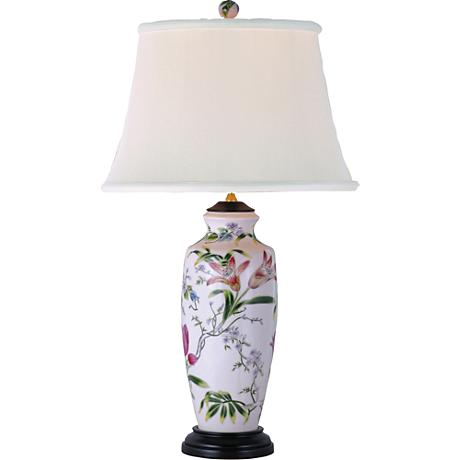 tall lily ginger jar porcelain table lamp g6965 lamps plus. Black Bedroom Furniture Sets. Home Design Ideas