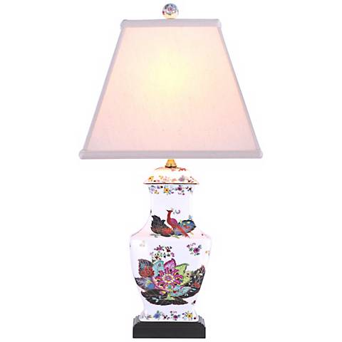 Peacock Garden Porcelain Vase Table Lamp