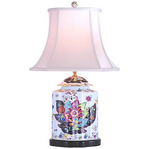 Porcelain Scallops Tobacco Tea Jar Table Lamp