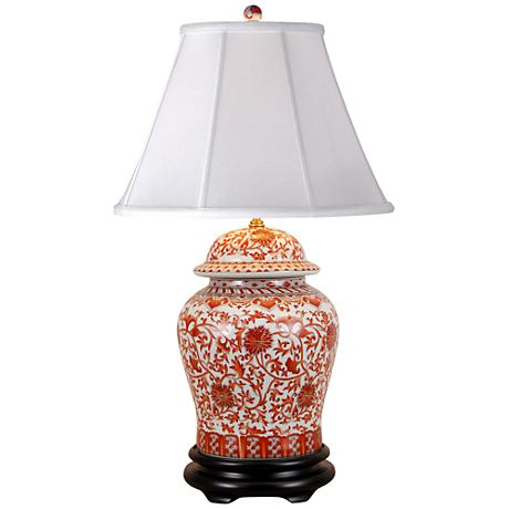 Coral Porcelain Temple Jar Table Lamp
